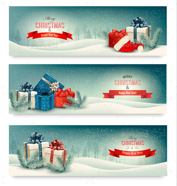 01_three_retro_holiday_christmas_banners_with_gift_boxes_and_snow_t
