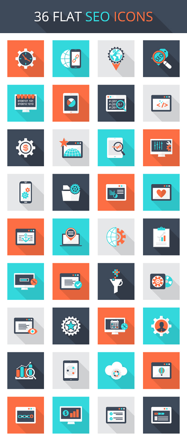 Free Download: Flat SEO Icon Set - Vectorgraphit