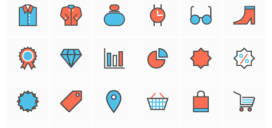 Flat Line Shopping Icons