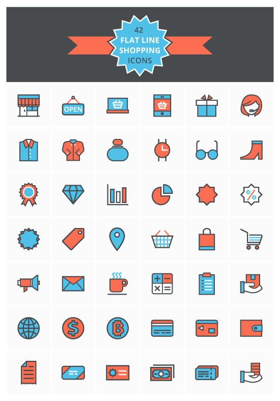 flat-line-shopping-icons