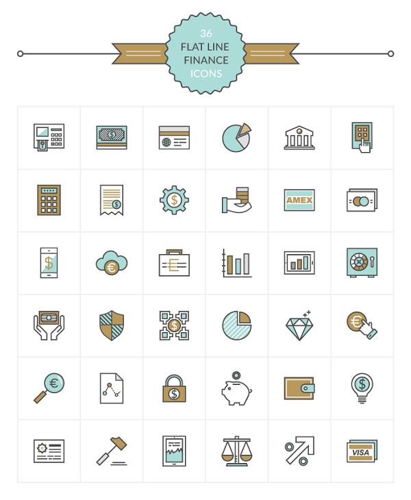 flat-finance-line-icon-set