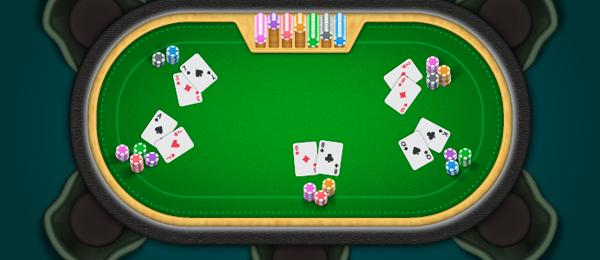 Create a Poker Table with Cards and Poker Chips Stacks